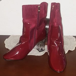 ASHLEY STEWART & VINYL & KNIT BOOTIES Sz. 11W NIB